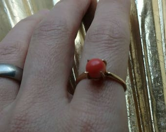 Antique solid 14k gold and angelskin coral solitaire ring - alternative engagement ring wedding ring