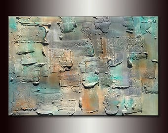Textured Grey ,Blue Abstract Painting, Contemporary Modern art by Henry Parsinia Large 36x24