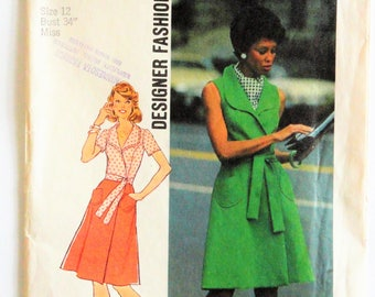 1970s Misses dress pattern, front wrap dress, A line sleeveless sun dress, vintage sewing pattern Simplicity 6844, misses size 12, bust 34