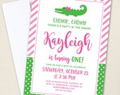 Pink Alligator Party Invitations - Professionally printed *or* DIY printable