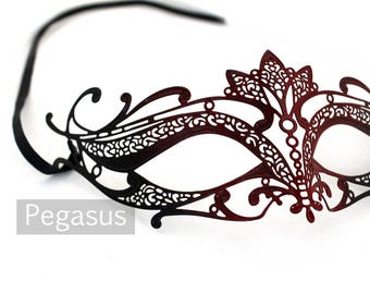 Red and Black Cat Woman Venetian Filigree Scroll work Metal  Masquerade Mask (1 Piece, 5 color options) Aluminum Laser Cut Mask Made