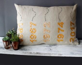 50th anniversary gift / Gold Wedding Anniversary Cushion / Golden Wedding Anniversary cushion / Personalised anniversay gift