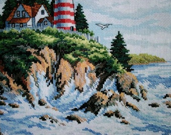 New Finished Completed Cross Stitch - Seaside scenery - Lighthouse - L134