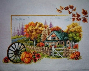 New Finished Completed Cross Stitch - Autumn scenery - L23