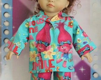 Poppy Troll Cotton Pajamas fits 18inch dolls - Proudly Made in America by mamastwinsees