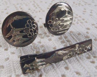 Vintage Cuff Link Tie Clip Set Damascene Sterling Silver