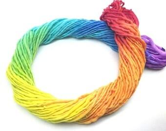 Bulky  handpainted rainbow yarn, handspun in merino wool - 50 yards and 1.75 ounces/49 grams