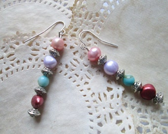 Hey There Pearly Girl Diva Earrings - Baroque Pearls in Shades of Peach, Lavender and Copper - Silver Spacers - Chic and Feminine - Ooak