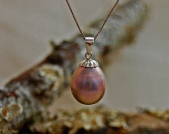 Romy - OOAK, Very Rare, natural untreated color metallic purple freshwater pearl pendant, jewelry, wedding fashion, gift for her,anniversary