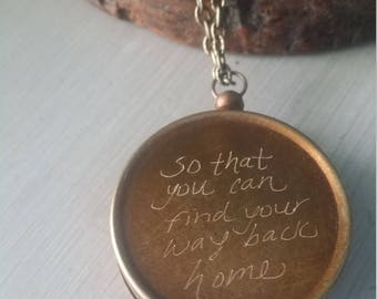 Hand engraved vintage style compass necklace quote So that you can find your way home