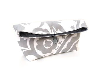 Fold over clutch, foldover bag, pouch purse, grey white modern floral, button closure, cosmetic bag, everyday clutch