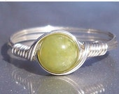 15% OFF SALE Natural Peridot Olivine Ring Argentium Sterling Silver