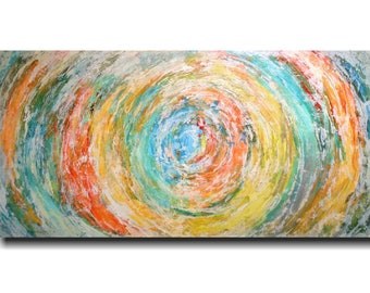 Art Abstract painting Pallet Knife painting Landscape on canvas 24 x 48 Streamline personlized