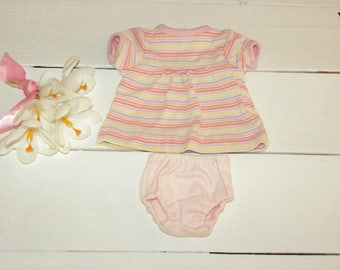 Striped Cotton Knit Dress and Pink Panties - 16 - 17 inch doll clothes