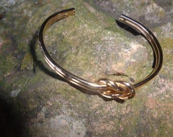 Vintage Gold Tone Knot Cuff Bracelet