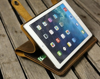 Personalized Leather ipad air 2 cover case stand / retro leather ipad mini 4 cover case / distress leather ipad air stand case -IPD05SD