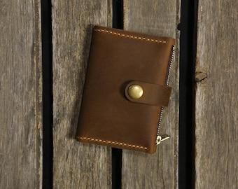 Handmade Personalized leather coin purse change wallet / minimalist slim bifold wallet card case - FW05BZ
