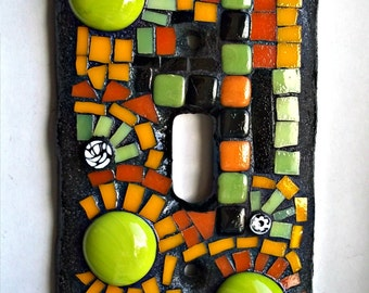 Mosaic Switch Plate Cover, Single Toggle, Funky, Childrens Room, Green, Orange, Black, For The Home, Guest Room, Great Gift Idea, Mosaic Art