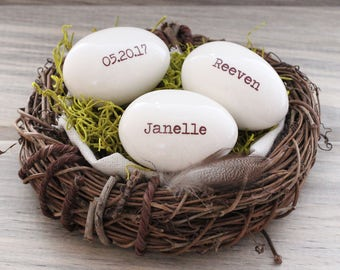 Custom eggs, personalized eggs, name eggs, bird nest mother's gift, 1-4 white eggs