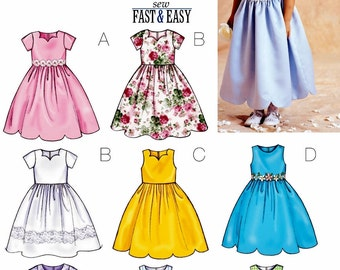 Little Girls' Special Occasion Dress Pattern, Flower Girl Dress Pattern, Girls' Sunday Dress Pattern, Butterick Sewing Pattern 3350