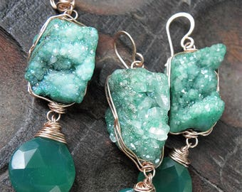 Ready to Ship, Green with Envy, 14K Rose Gold Filled, Agate Druzy, green Onyx , Pendant and Earrings, ThePurpleLilyDesigns