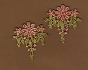 Hand Dyed Venise Lace  Appliques Edwardian Accents Set of 2 Aged shabby Bliss