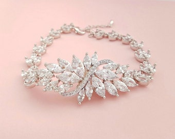 Wedding Bracelet Crystal Bridal Bracelet Wedding Jewelry CZ Bracelet Crystal Bracelet Bridal Jewelry, Eden