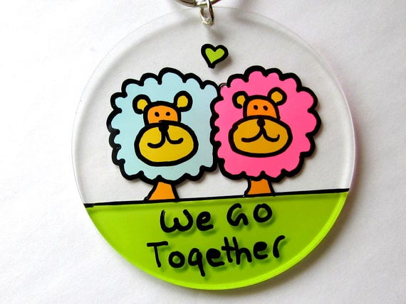 Cute Romantic Funny Lion Friendship Keychain