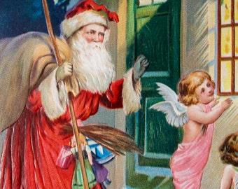 Victorian Christmas Postcard, Santa and Angels