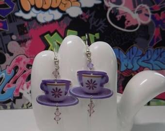 Alice in Wonderland Purple Teacup Dangle Earrings