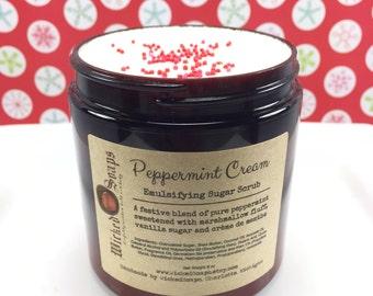 Peppermint Cream Emulsifying Sugar Scrub, Whipped Sugar Scrub, Body Polish