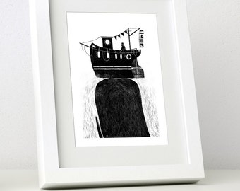 Whale & Boat - Mini Framed Print