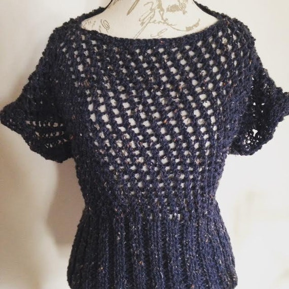 Eyelet Lace Sweater/Shirt/Top with Form Fitting Rib Waist and Boat Neck