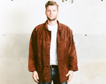 Vintage Suede Coat . Mens 80s Blanket Lined Brown Southwestern Aztec Long Jacket Leather Outerwear Oversized Jacket . size Extra Large