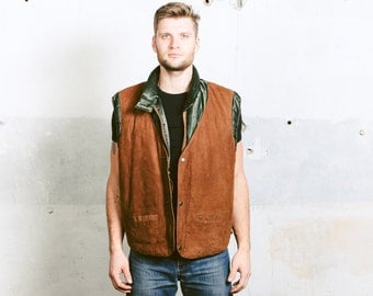 Gilet Puffer Vest . Sleeveless Jacket Quilted Padded Suede Front Green Brown Men's Vintage 80s HUNTING Vest .  size Extra Large XL
