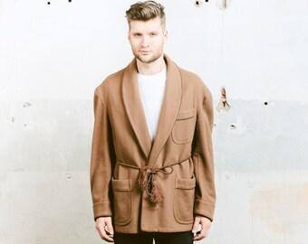 Vintage SMOKING Jacket . Men's Morning Robe 50s Wool Coat Brown Jacket Mod Dressing Gown Man Boyfriend Father Gift . size XL Extra Large