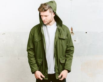 Hooded Parka Jacket . Vintage Green Coat Men's 70s Hunting Jacket Fisherman Long Hooded Military Army Coat Outerwear . size Small