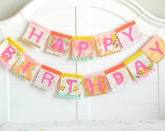 Girl Birthday Banner, Happy Birthday, Happy Birthday Sign, 1st Birthday, First Birthday, Girls Birthday, Sparkle Birthday, Bunting Garland
