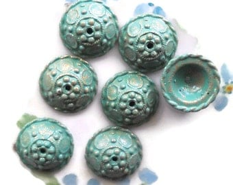 Vintage Bead Caps Ornate Patina Green Artsy Art Nouveau spacer Deco Art Rare. #189