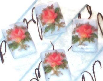 Vintage Cabochon Limoges Square Roses Rose Floral #1026A