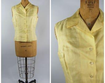 1950s Yellow Silk Sleeveless Blouse // Summer Top // Light Yellow - Susan Thomas Split lapels