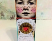 Mixed Media art doll assemblage, Art Doll, Dream Chaser, Dollie Pops, Studio Girl OOAK