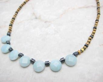 Amazonite & Gold Necklace. Aqua Mint Necklace. Mint Stone Necklace. Mint Gemstone Necklace. Aqua Stone Necklace. TaraLynEvans. VESA
