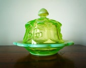 Vintage Vaseline Glass Domed Covered Butter Dish Cherries