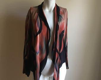 Wearable Art Vintage Silk Open Jacket • Avant Garde Art Piece • One of a Kind