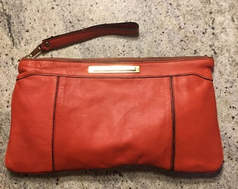 50s 60s Orange Leather Clutch Purse
