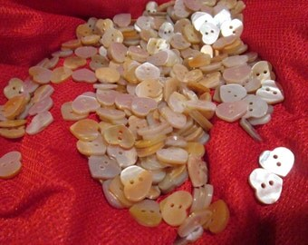 Hundreds of Vintage Mother of Pearl Heart Buttons - Shower them on Everything!
