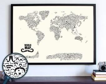 Mustache World Map Wall Art Print, Stache, Nautical Gifts, Travel Gifts For Her, Travel Gifts For Him, Movember, Handlebar, Mustache Styles