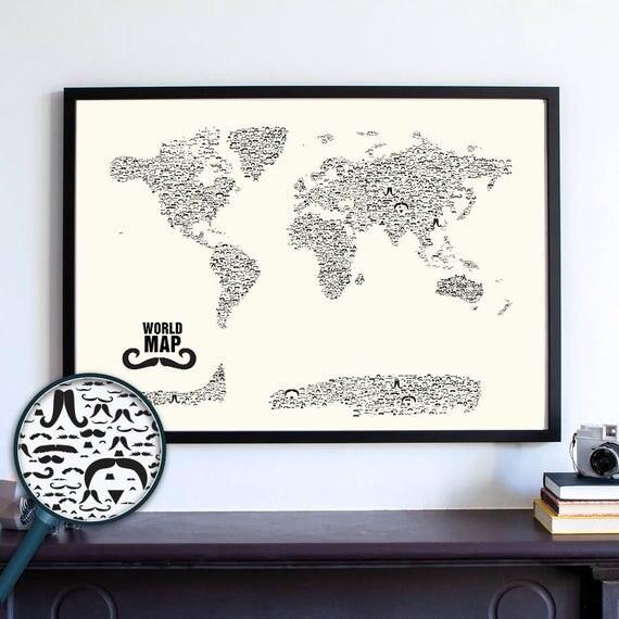 Mustache World Map Wall Art Print, Stache, Nautical Gifts,Travel Gifts for Her, Travel Gifts for Him, Movember, Handlebar, Mustache Styles