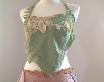 Reserved Green pine top festival faerie clothing